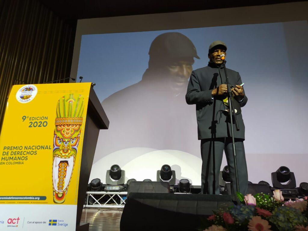 Marino Córdoba recime Premio Nacional de Derechos Humanos
